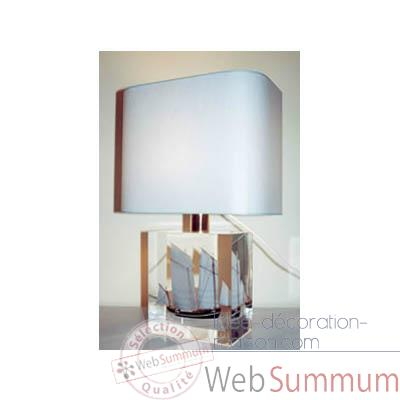 Petite Lampe Rectangle Cancalaise Bleue & Noire Abat-jour Rectangle Bleu Clair-102