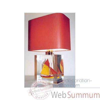 Petite Lampe Rectangle Thonier D 218 Rouge & Jaune Abat-jour Rectangle Rouge-111