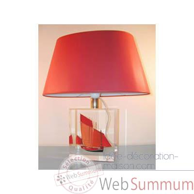 Petite Lampe Chaloupe Can 23 Rouge Abat-jour Ovale Rouge-85