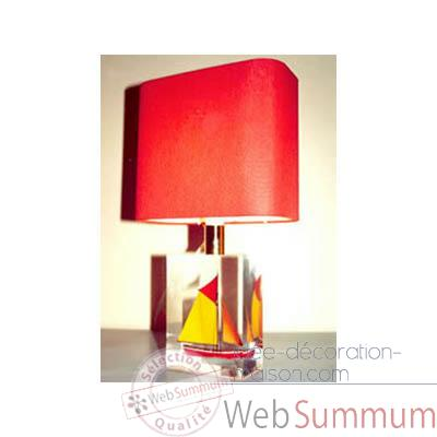 Mini Lampe Petite Barque rouge-Jaune Abat-jour Rectangle Rouge -78