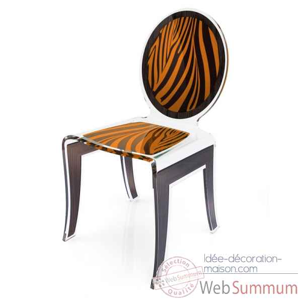 Chaise wild zebre orange acrila -cwzo