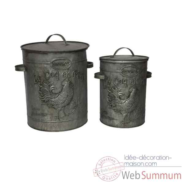 Set 2 boites zinc decor coq Antic Line -SEB12792