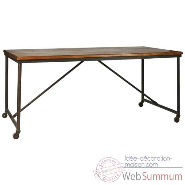 Table fer et bois cire antique Antic Line -CD431