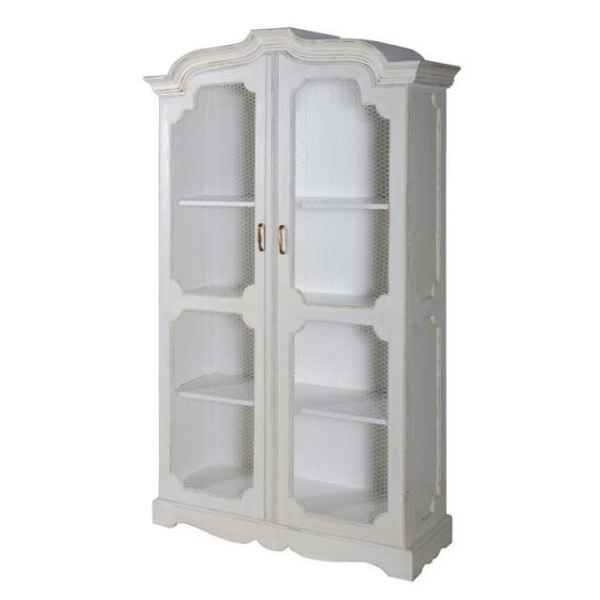 Vitrine 2 portes grillagees blanc patine Antic Line -CD197