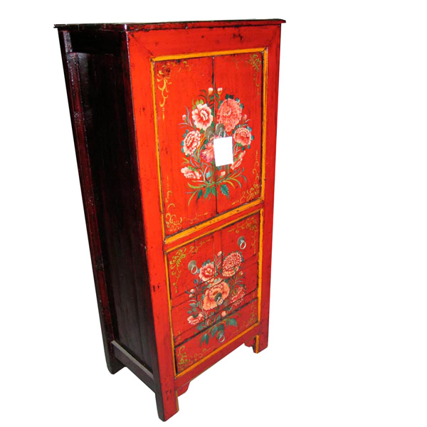 armoire peinte mongole 4 portes et 2 tiroirs style chine chn007 de meuble chinois. Black Bedroom Furniture Sets. Home Design Ideas