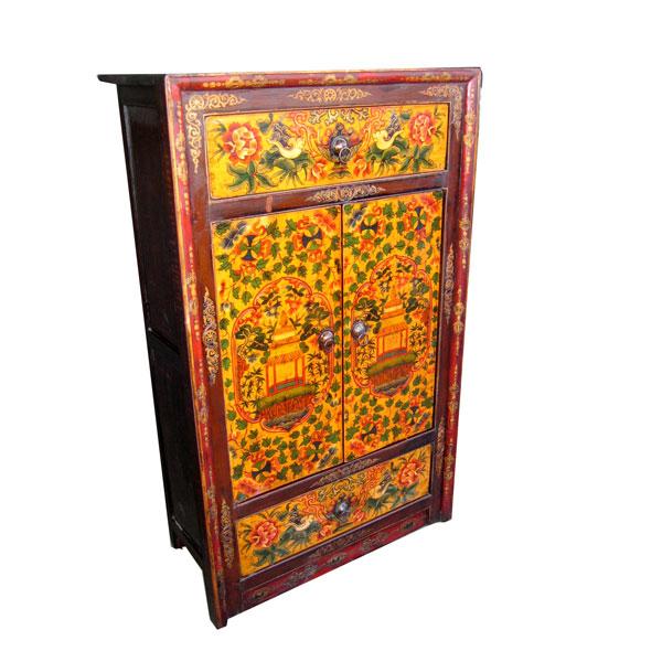 Armoirette 2 portes et 2 tiroirs tibetain style chine for Meuble chine design