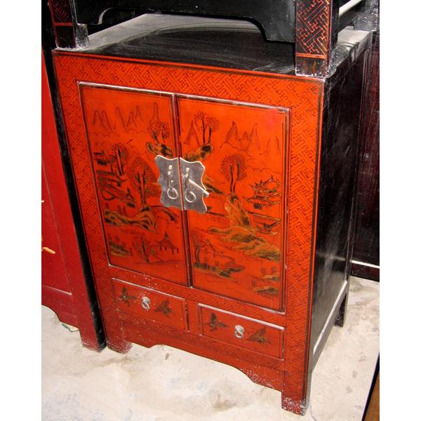Armoirette 2 portes et 1 tiroir rouge style chine chn014r for Meuble chine design