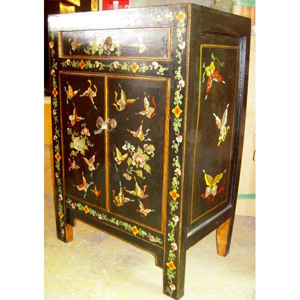 armoirette 2 portes et 1 tiroir papillon noire style chine c0933n dans armoires. Black Bedroom Furniture Sets. Home Design Ideas
