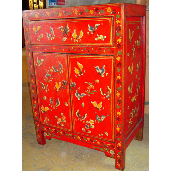 armoirette 2 portes et 1 tiroir papillon rouge style chine. Black Bedroom Furniture Sets. Home Design Ideas