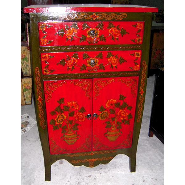 armoirette 2 portes et 2 tiroirs fleurs style chine c3025