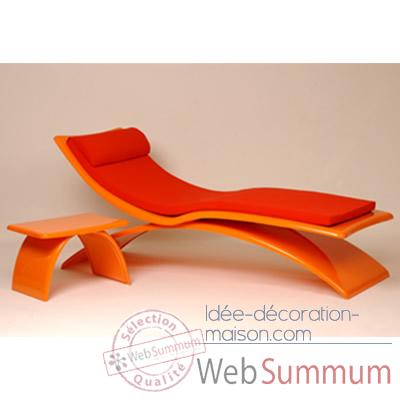 Chaise longue design Vagance orange matelas rouge Art Mely - AM09
