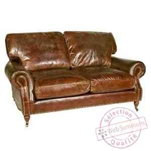 Canap balmoral in cuir couleur cigare deux places h 930 x - Changer couleur canape cuir ...
