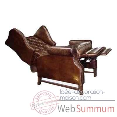 Fauteuil inclinable dowing en cuir couleur cigare h 1065 x 880 x 870 arteinmo - Fauteuil en cuir inclinable ...