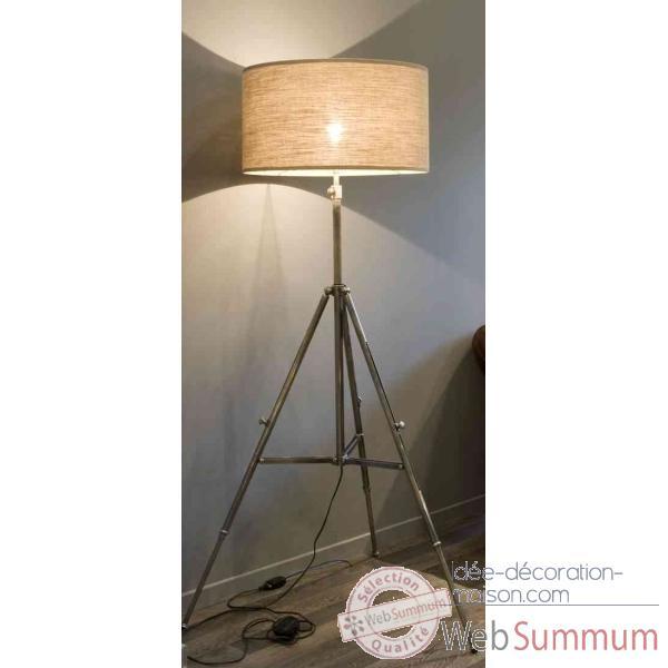 lampe tr pied en laiton plaqu d 39 argent avec abat jour en tissu h 1370 1760 arteinmotion lam. Black Bedroom Furniture Sets. Home Design Ideas