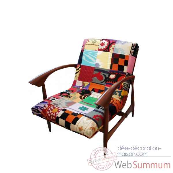 Fauteuil annees 50 patch kilim szalay -Szalay29