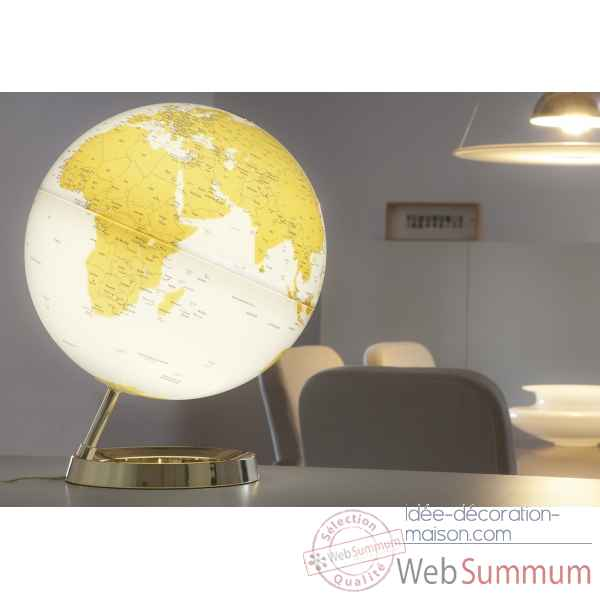 Globe lumineux light and colour metal gold en anglais