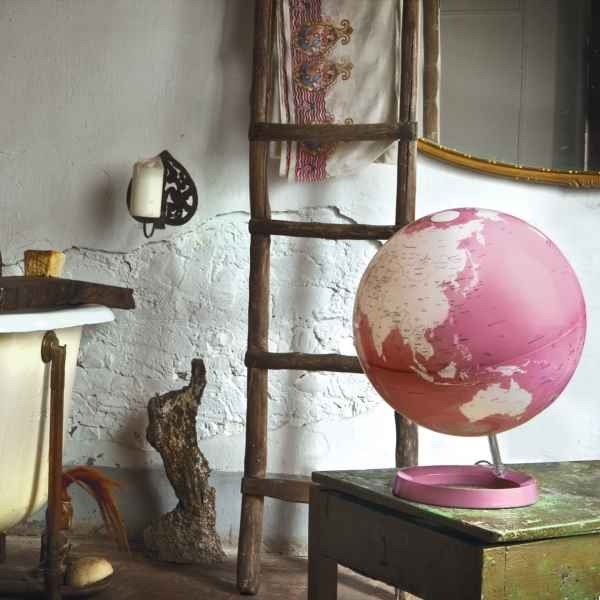 Globe lumineux light and colour rose pastel en anglais