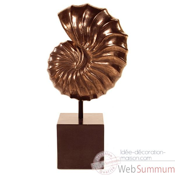 Sculpture-Modele Nautilus Table Sculpture Box Pedestal, surface aluminium et fer-bs1713alu/iro