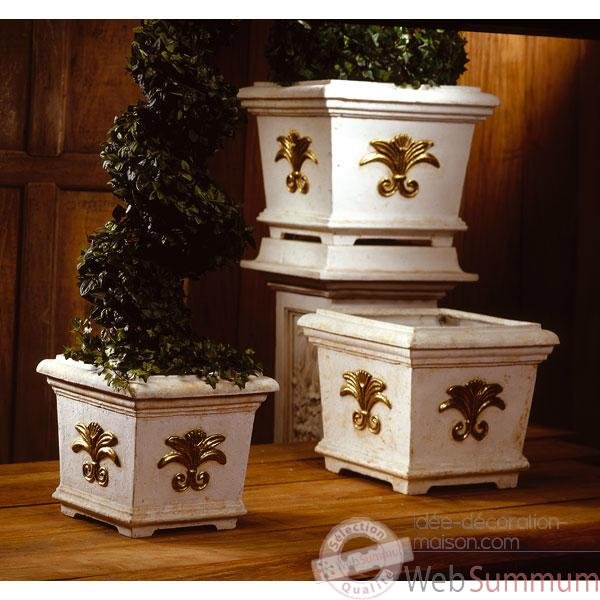 Vases-Modele Tuscany Planter Box -medium, surface marbre vieilli patine or-bs2153wwg