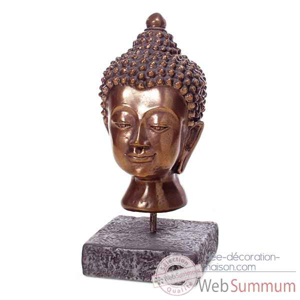 Sculpture-Modele Buddha Head, surface aluminium et fer-bs3139alu/iro