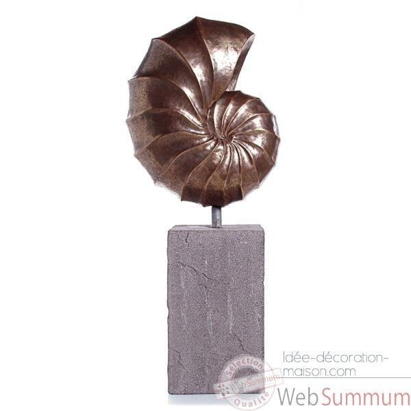 Sculpture-Modele Nautilus Giant Garden Sculpture, surface aluminium-bs3318alu/lava