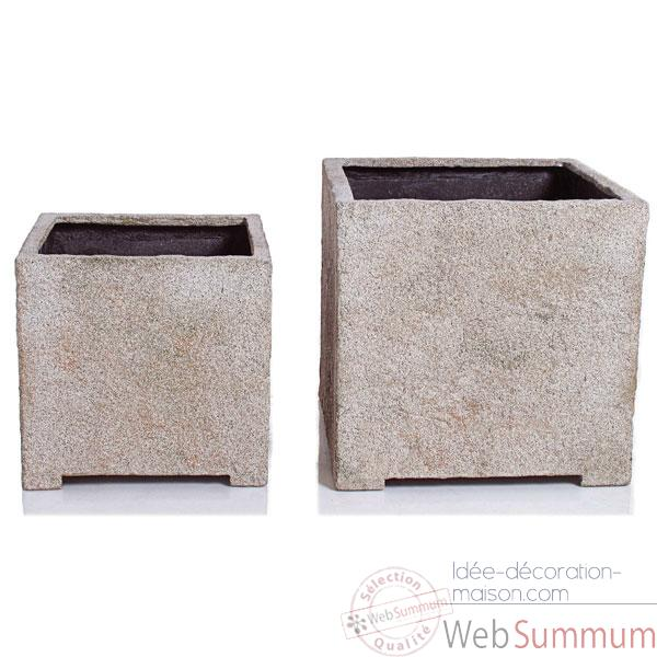 Vases-Modèle Cube Planter Medium,  surface granite-bs3320gry