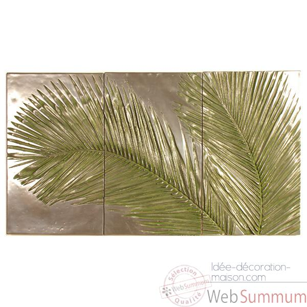Decoration murale-Modele Palm Triptych, surface bronze nouveau-bs4128nb