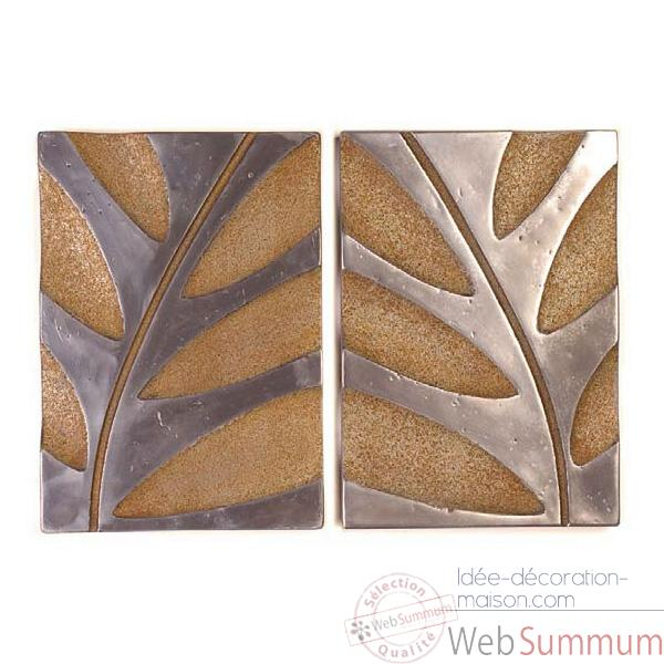 Decoration murale-Modele Foliage Wall Decor S/2, surface aluminium avec rouille-bs4133alu/rst