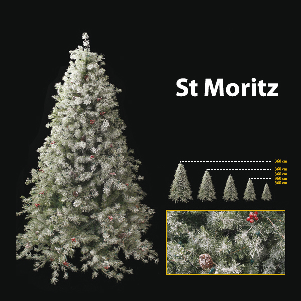 Sapin de Noel 240 cm Professionnel St Moritz Winter Tree 750 lumieres White-Berry