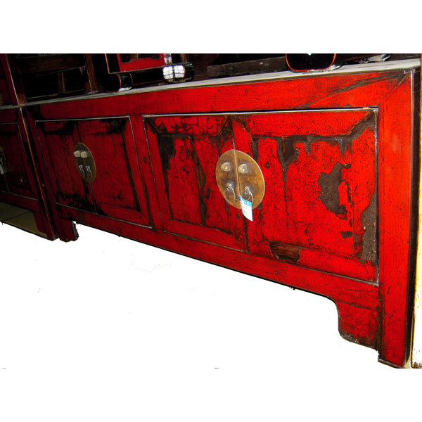 Buffet bas 4 portes rouge laqu style chine chn246 dans for Meuble chine design