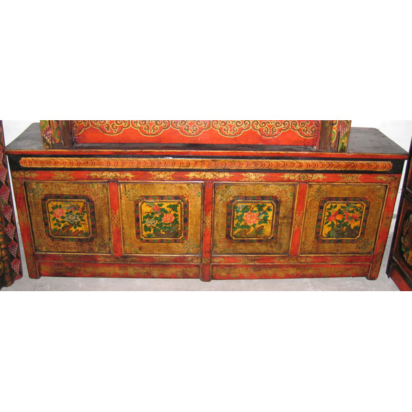 Buffet bas 4 portes tibetain style chine c0377 dans for Meuble style chinois