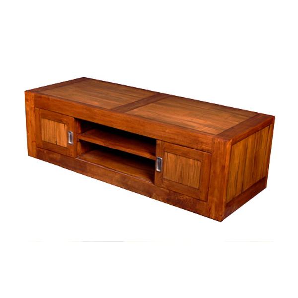 meuble bas 4 portes coulissantes en bois cir meuble d 39 indon sie 56780ci. Black Bedroom Furniture Sets. Home Design Ideas