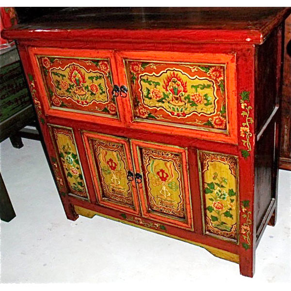 Buffet 4 portes niche tibetain style chine c3036 dans for Meuble style chinois