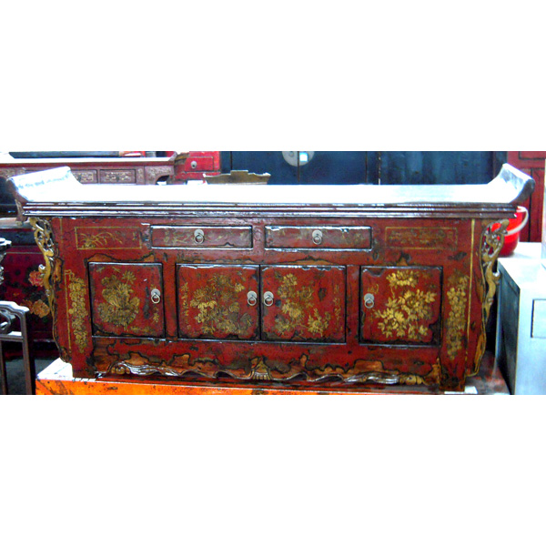 Buffet pagode 2 tiroirs 4 portes avec fleurs style chine for Meuble chine design
