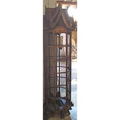 cage hexagonale en bois style vieux tek artisanat tha tai0790 de meuble ethnique. Black Bedroom Furniture Sets. Home Design Ideas