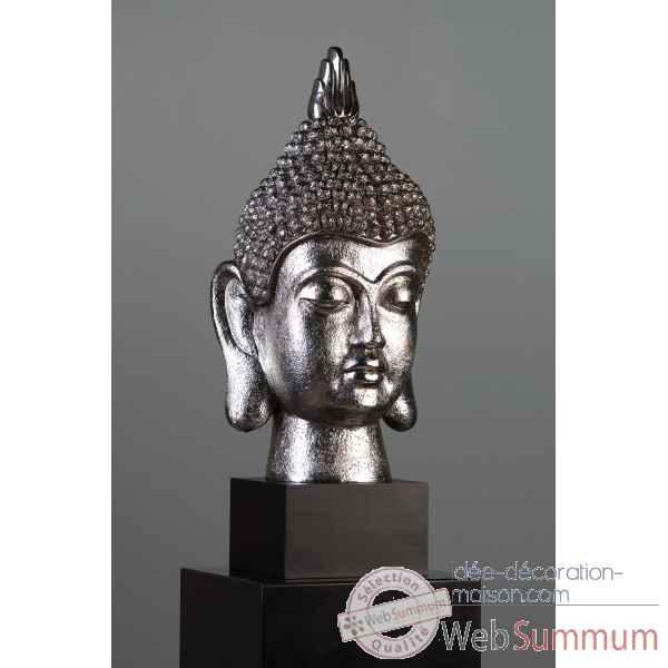 "Figurine ""budda-head\"" poly antique argent Casablanca Design -59228"