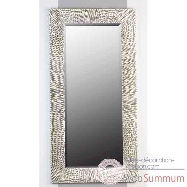 Miroir capri bois verre antique argent casablanca design for Miroir bois design