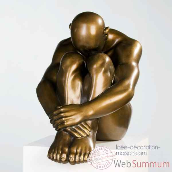 "Polystone sculpture ""thinking man\"" Casablanca Design -59755"