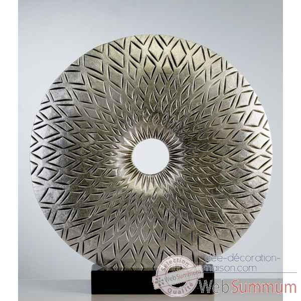 "Sculpture ""sunlight\"" bois marbre argent Casablanca Design -51951"