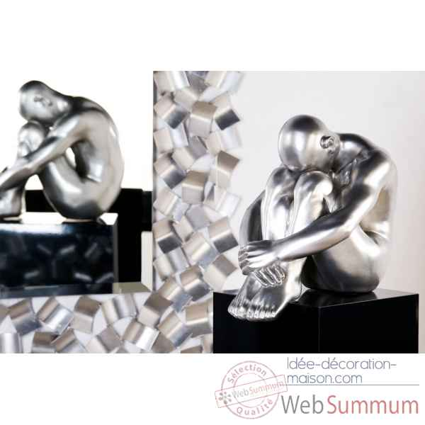 "Sculpture ""thinking man\"" poly finition platine  Casablanca Design -59648"
