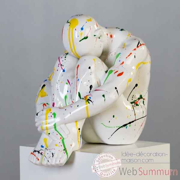 "Sculpture ""thinking man\"" poly blanc couleur  Casablanca Design -59649"