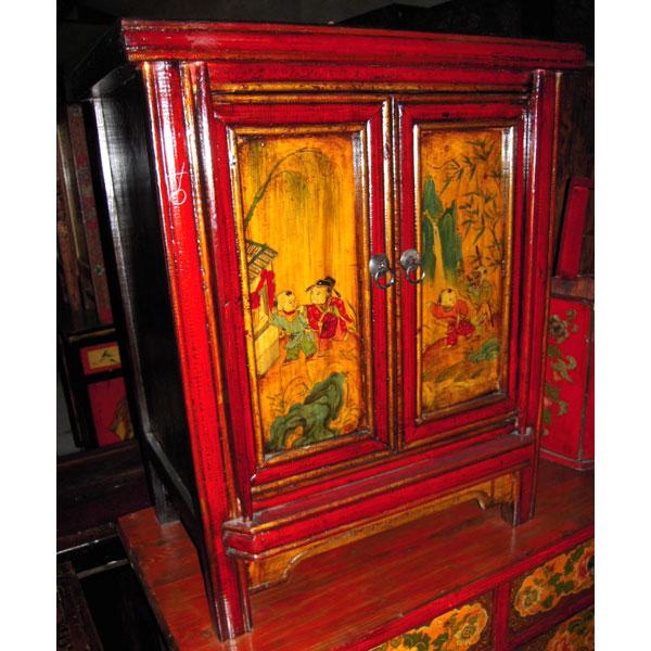Chevet 2 portes peint style chine c3008 photos id e for Meuble chine design