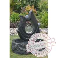Fontaine nymphe en pierre granit finition polie et martelee, de coloris gris Climadream