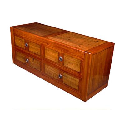 Meuble chaussures long avec 4 casiers et 2 tiroirs en bois for Meuble bois tiroirs casiers