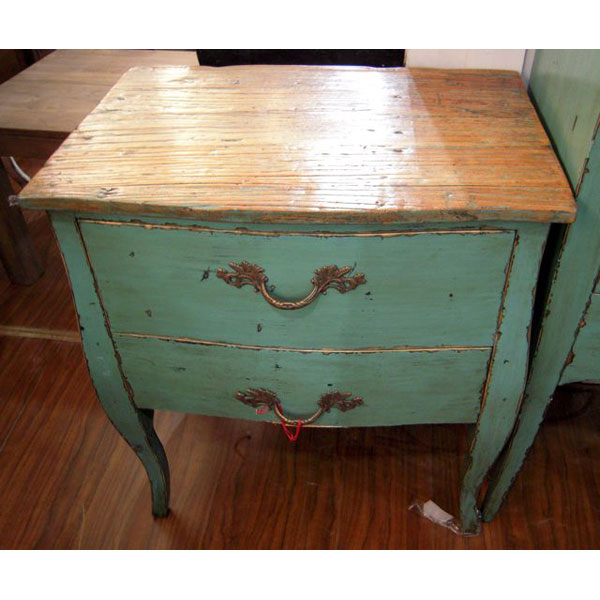 Commode 2 tiroirs bleu turquoise plateau style chine for Meuble chinois bleu