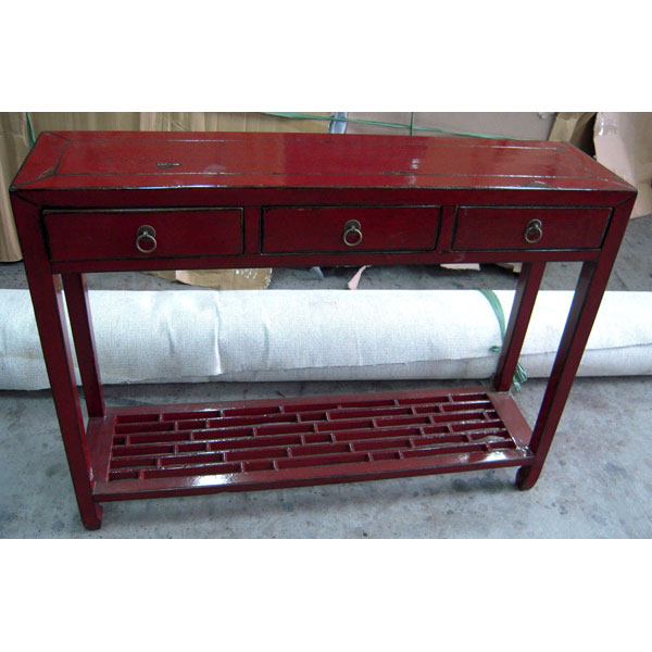 Console bas caillebotti rouge style chine chn076r sur id e for Meuble chine design
