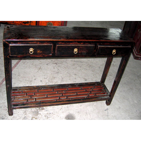 Console 3 tiroirs noire style chine chn076n de art design for Console meuble chinois