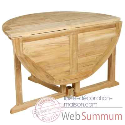 Table pliante milford 120 cm en teck naturel 60-035A