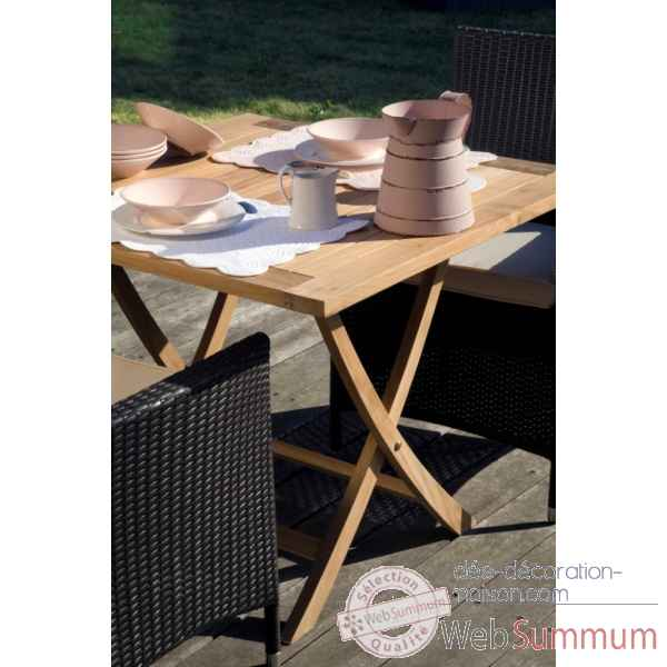 Table wexford pliante carrée 90 en teck naturel 60-040