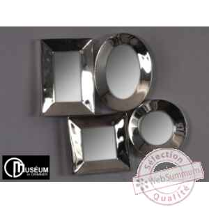 Objet decoration nickel appl murale 4 miroirs Edelweiss -C8913